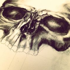 My skull, charcoal and graphite