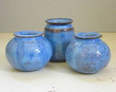 3 tiny handmade blue ceramic vases
