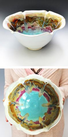 Ceramic Flower Bowl in Turquoise Sunrise from Lee Wolfe Pottery