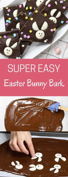 Easter Bunny Chocolate Bark – the best Easter treat recipe that makes a great Easter gift too! All you need is four simple ingredients: baking chocolate, candy melts, decorating gel and sprinkles. It (Easter Baking Cupcakes) Easter Snacks, Easter Candy, Easter Treats, Easter Gift, Easter Recipes, Easter Food, Chocolate Candy Melts, Chocolate Bark, Baking Chocolate