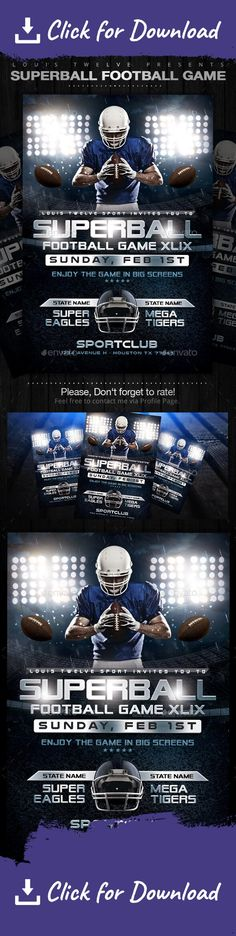 A creative and perfect design to promote your next American Football Event Flyer Features: CMYK Color 300 DPI Inches Print Ready SUPER EASY to EDIT and Layers Well Organized in folders. Fonts Used: Alien Encounters *Model is not inlcuded College Games, College Football, Nfl Football, Baseball, Alien Encounters, Sports Flyer, Event Flyers, Cool Business Cards, Fantasy Football