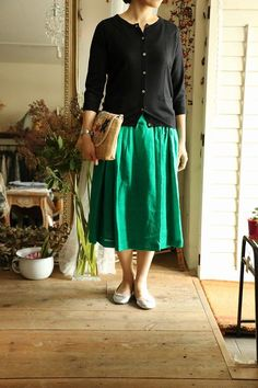 ...love the color of this skirt...with a navy blue sweater...