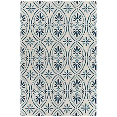 Chandra Terra Cream and Blue Outdoor Area Rug - #9M644 | Lamps Plus