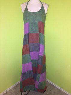 Women's Patchwork Maxi Dress Sz M/L Festival Hippie Corset back #notags