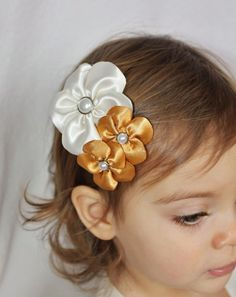 Ivory and Gold Hair Clip