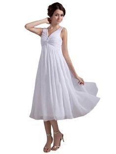 Remedios Boutique V Neck Chiffon Empire Tea Length Bride Reception Wedding Dress, White, S2 Remedios Boutique,http://www.amazon.com/dp/B00AXHLD6U/ref=cm_sw_r_pi_dp_gcU1sb1FD3TXEECV