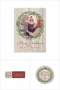 Rustic Wreath Christmas Collection | Photo card, return address, holiday sticker, postage stamp