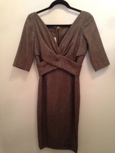 Click to Shop - ALEXANDER MCQUEEN WOOL TWEED V NECK DRESS, SIZE MEDIUM - FITS LIKE A 4