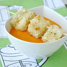 Baked Panko Mozzarella Balls with Creamy Tomato Soup - i used small mozzarella balls, this was good, but i might try a bigger size
