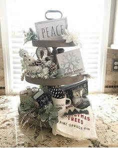 """Vintage Farmhouse Finds on Instagram: """"Wow! This tray! Dana @knot_2_shabee  styled our Charlotte 3 tier tray so beautifully with the cutest holiday decor! Do yourselves a favor…"""" Tray Decor, Vintage Farmhouse, Knots, Favors, Sweet Home, Place Card Holders, Cold, Holiday Decor, Tier Tray"""