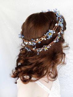 blue flower crown blue wedding head wreath bridal by thehoneycomb