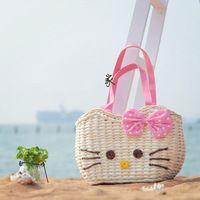Palha saco de praia mulheres de verão bolsa de palha tecida saco de ombro A1176