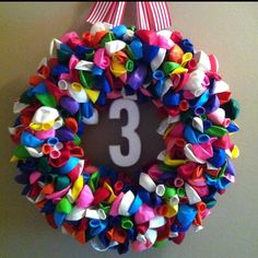 Balloon wreath I did...perfect for birthday parties!!