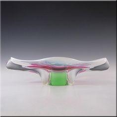 Czech Chribska Pink/Green Glass Organic Sculpture Bowl - £30.00