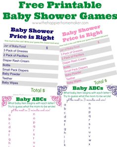 Free printable baby shower games I like the baby abcs because the mom gets to play too!