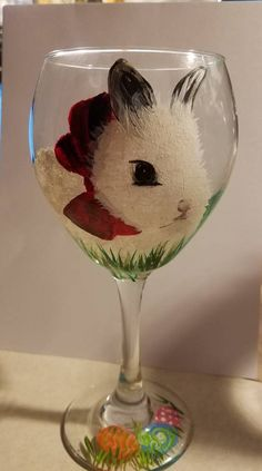Easter bunny wine glass, white bunny, easter eggs, hand painted wine glass by mainelypetportraits on Etsy https://www.etsy.com/listing/578249188/easter-bunny-wine-glass-white-bunny