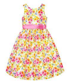 Look at this #zulilyfind! Yellow & Pink Floral Rosette Dress - Toddler & Girls by American Princess #zulilyfinds