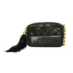 Chanel Black Quilted Camera Bag with Tassel c. 1990