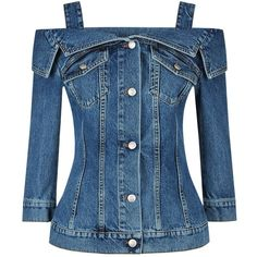 Alexander McQueen Off-Shoulder Denim Jacket (2 499 090 LBP) ❤ liked on Polyvore featuring outerwear, jackets, blue jackets, denim jacket, off the shoulder jean jacket, alexander mcqueen and alexander mcqueen jacket