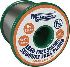 Cheap MG Chemicals SAC305 96.3% Tin 0.7% Copper 3% Silver No Clean Lead Free Solder 0.032 Diameter 1 lbs Spool deals week