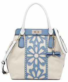GUESS April Showers Turn-lock Satchel Handbags   Accessories - Macy s 822f8a278261e