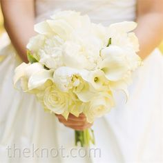 White Bridal Bouquet- Chelsey carried a bouquet filled with old southern favorites: roses, peonies and calla lilies.