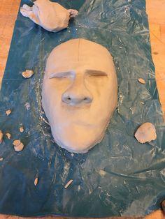 Bovenaanzicht van het hoofd met de neus erop