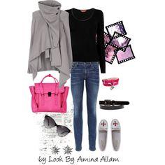 Grey cape by Lookby Amina Allam