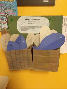 Our craft for Jesus feeds 5000! A basket for each of the boys! They colored their own basket, fish and bread oh and glued the eyes!