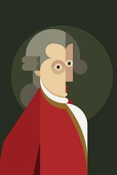 Wolfgang Amadeus Mozart by Dennis Bennett. Art And Illustration, Kunst Poster, Abstract Portrait, Arte Pop, Geometric Art, Urban Art, Illustrators, Graphic Art, Modern Art