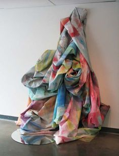 Wall Cascade with Mirror, 2011 by Sam Gilliam. Lyrical Abstraction. installation