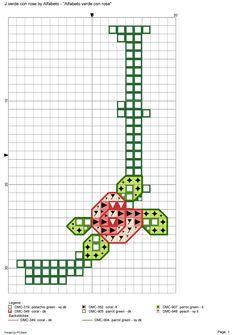 Alfabeto verde con rose: J