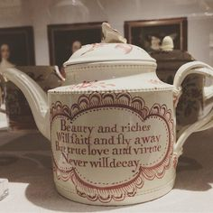 A wonderful 1780s teapot by Leeds Pottery, spotted at #yorkartgallery earlier this month