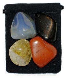 CHRONIC FATIGUE SYNDROME Tumbled Crystal Healing Set - 4 Gemstones w/Description & Pouch - Citrine, Chalcedony, Jasper, Tourmaline. $4.99, via Etsy.