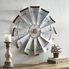 Love this Windmill Wall Decor. Perfect for rustic or farmhouse style. Love this wood and industrial wall decor. #afflink