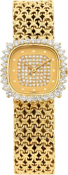Patek Philippe Ladys Diamond, Gold Wristwatch.