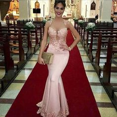 Sexy Perspective Pink Lace Mermaid Prom Dresses 2017 New Short Cap Sleeve Scoop Sweep Train Appliques Satin Gown Custom Made