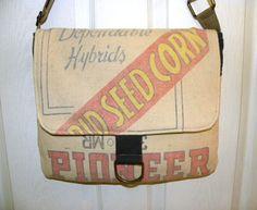 Vintage Pioneer Hybrid corn seed sack upcycled by LoriesBags