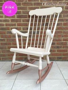 This beautiful rocking chair has been painted using Fusion Mineral paint in the colour 'Little Piggy' with a custom mix metallic Rose Gold paint on the rocker using Fusions Metallic paint.