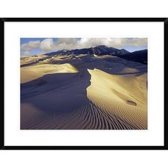 Global Gallery Rippled Sand Dunes with Sangre De Cristo Mountains in the Background, Great Sand Dunes National Park and Preserve, Colorado by Tim F...