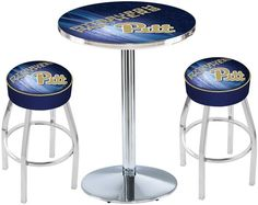 Pitt Panthers D2 Chrome Pub Table Set. Available in two table widths.   Visit SportsFansPlus.com for Details.
