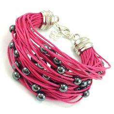 Bransoletka wykonana ręcznie na bawełnianym sznurku jubilerskim w kolorze fuksji z kamieniami grafitowego hematytu. Lens, Bracelets, Jewelry, Fashion, Moda, Jewlery, Jewerly, Fashion Styles, Schmuck