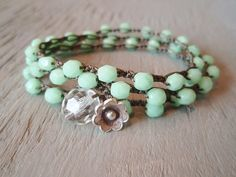 """Mint green beaded bohemian crochet wrap bracelet necklace 'Spring Flowers' boho crochet jewelry, minty pastel opal, 20"""" 3x triple wrap"""