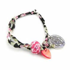 "'french touch' bracelet ""Liberty"" black red. Les Tresors de Lily. $11.00"