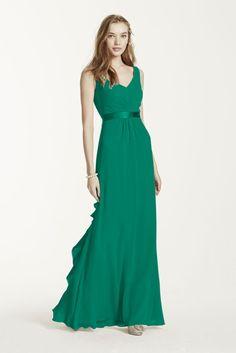 Extra Length Chiffon Bridesmaid Dress with Ruffled Back