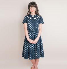 1980s vintage navy blue polka dot cotton dress by DeLaBelle, $38.00