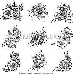 set of nine black flowers vector Rangoli Drawing, Mandala Drawing, Henna Patterns, Zentangle Patterns, Flower Henna, Flower Art, Beginner Henna Designs, Henna Drawings, Flower Doodles