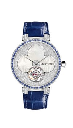 Louis Vuitton watches Tambour Monograph Sun Tourbillon marries its symbolic flower and star logos to the sophisticated mechanical show of a tourbillon. The white mother-of-pearl flower in the centre sits pretty in a bed of snow-set diamonds framed by 58 b Unusual Watches, Cool Watches, Watches For Men, Woman Watches, Louis Vuitton Watches, Louis Vuitton Jewelry, Tambour, Bulova Mens Watches, Tourbillon Watch