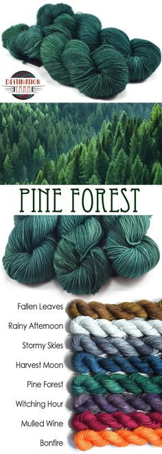 Dotted amid the spectacular changing leaves the deep pine green of coniferous trees stands out. Kettle-dyed, sport weight yarn on a 100% superwash merino wool base-perfect for knitting, crochet, and DIY craft projects!