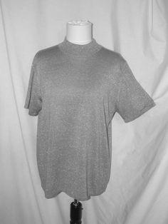 "Sz 44"" Bust Croft & Barrow Silver Glitter Knit Top Short Sleeves Mock Turtleneck #CroftBarrow #KnitTop #Versatile"